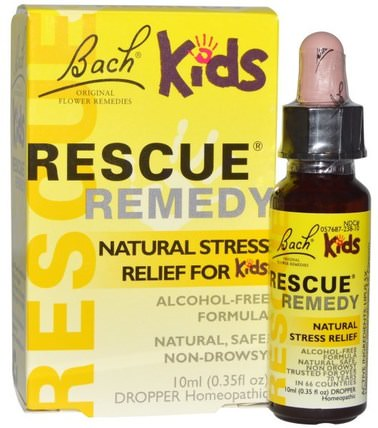 Original Flower Remedies, Rescue Remedy, Natural Stress Relief for Kids, 0.35 fl oz (10 ml) by Bach, 兒童健康,補充兒童,巴赫原創花精華營救 HK 香港