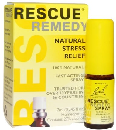 Original Flower Remedies, Rescue Remedy, Natural Stress Relief Spray, 0.245 fl oz (7 ml) by Bach, 草藥,鐵線蓮,巴赫原花精華拯救 HK 香港