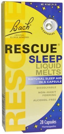 Original Flower Remedies, Rescue Sleep Liquid Melts, 28 Capsules by Bach, 補品,順勢療法,睡眠 HK 香港