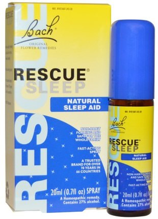 Original Flower Remedies, Rescue Sleep, Natural Sleep Aid Spray, 0.7 fl oz (20 ml) by Bach, 補品,順勢療法,睡眠 HK 香港