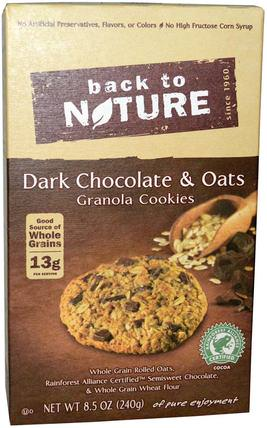 Granola Cookies, Dark Chocolate & Oats, 8.5 oz (240 g) by Back to Nature, 食物,小吃,餅乾 HK 香港