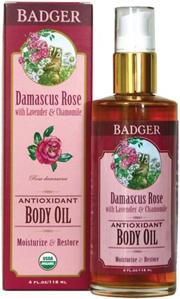 Antioxidant Body Oil, Damascus Rose, 4 fl oz (118 ml) by Badger Company, 保健,護膚,美容,面部護理 HK 香港