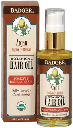 Argan Botanical Hair Oil, Jojoba & Baobab, 2 fl oz (59.1 ml) by Badger Company, 洗澡,美容,摩洛哥堅果,皮膚護理 HK 香港