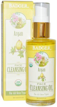 Argan Face Cleansing Oil, For All Skin Types, 2 fl oz (59.1 ml) by Badger Company, 洗澡,美容,摩洛哥堅果,皮膚護理 HK 香港