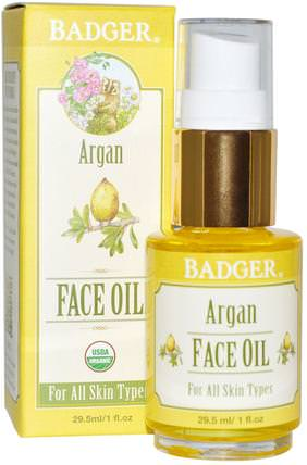 Argan Face Oil, For All Skin Types, 1 fl oz (29.5 ml) by Badger Company, 洗澡,美容,摩洛哥堅果,皮膚護理 HK 香港