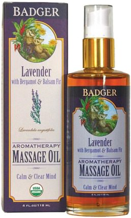 Aromatherapy Massage Oil, Lavender with Bergamot & Balsam Fir, 4 fl oz (118 ml) by Badger Company, 保健,護膚,按摩油 HK 香港