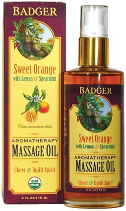 Aromatherapy Massage Oil, Sweet Orange with Lemon & Spearmint, 4 fl oz (118 ml) by Badger Company, 保健,護膚,按摩油 HK 香港