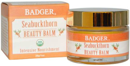 Beauty Balm, Seabuckthorn, 1 oz (28 g) by Badger Company, 美容,面部護理 HK 香港