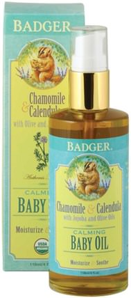 Calming Baby Oil, Chamomile & Calendula, 4 fl oz (118 ml) by Badger Company, 兒童健康,尿布,嬰兒爽身粉油 HK 香港