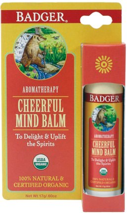 Cheerful Mind Balm, Sweet Orange & Spearmint.60 oz (17 g) by Badger Company, 健康,心情,沐浴,美容,香薰精油 HK 香港
