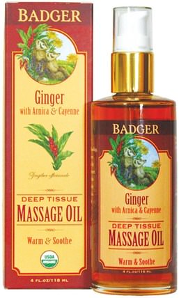 Deep Tissue Massage Oil, Ginger with Arnica & Cayenne, 4 fl oz (118 ml) by Badger Company, 保健,護膚,按摩油 HK 香港