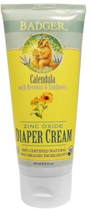 Diaper Cream, Calendula with Beeswax & Sunflower, 2.9 fl oz (87 ml) by Badger Company, 兒童健康,尿布,尿布霜 HK 香港