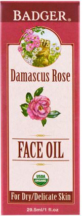 Face Oil, Damascus Rose, 1 fl oz (29.5 ml) by Badger Company, 美容,面部護理 HK 香港