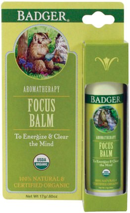 Focus Balm, Grapefruit & Ginger.60 oz (17 g) by Badger Company, 沐浴,美容,香薰精油 HK 香港