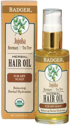 Jojoba Herbal Hair Oil, Rosemary & Tea Tree, 2 fl oz (59.1 ml) by Badger Company, 洗澡,美容,頭髮,頭皮,洗髮水,護髮素 HK 香港