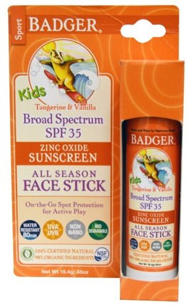 Kids Zinc Oxide Sunscreen All Season Face Stick, SPF 35, Tangerine & Vanilla.65 oz (18.4 g) by Badger Company, 健康,皮膚護理,沐浴,美容,防曬霜,spf 30-45 HK 香港
