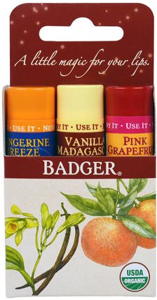 Lip Balm Gift Set, Red Box, 3 Pack.15 oz (4.2 g) Each by Badger Company, 洗澡,美容,禮品套裝,唇部護理 HK 香港