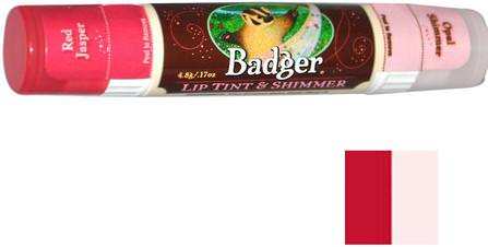 Lip Tint & Shimmer, Red Jasper/Opal Shimmer.17 oz (4.8 g) by Badger Company, 沐浴,美容,口紅,光澤,眼線,唇部護理,唇膏 HK 香港