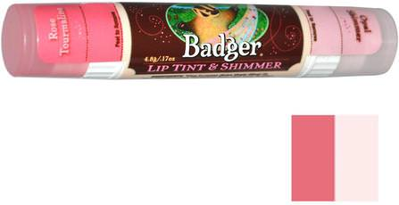 Lip Tint & Shimmer, Rose Tourmaline / Opal Shimmer.17 oz (4.8 g) by Badger Company, 沐浴,美容,口紅,光澤,眼線,唇部護理,唇膏 HK 香港