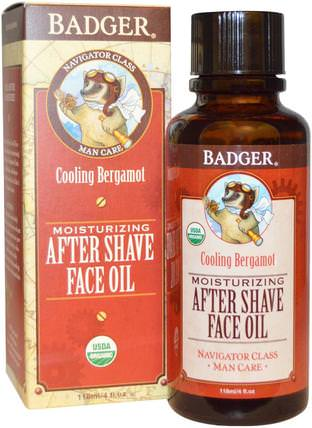 Moisturizing After Shave Face Oil, Cooling Bergamot, 4 fl oz (118 ml) by Badger Company, 洗澡,美容,剃須,剃須後,健康,皮膚護理 HK 香港