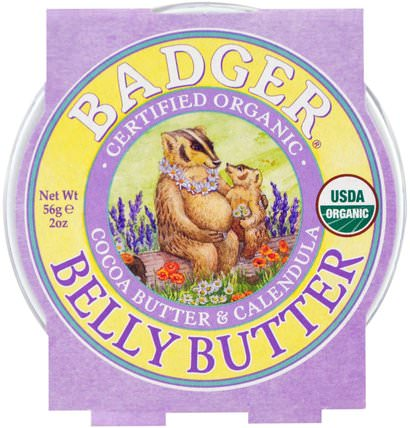 Organic Belly Butter, Cocoa Butter & Calendula, 2 oz (56 g) by Badger Company, 健康,皮膚,妊娠紋疤痕,沐浴,美容,身體護理 HK 香港