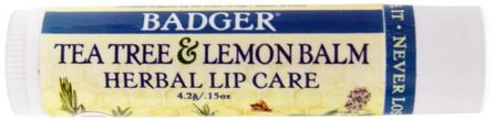 Tea Tree & Lemon Balm Herbal Lip Care, .15 oz (4.2 g) by Badger Company, 洗澡,美容,唇部護理,唇膏 HK 香港