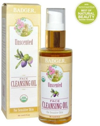 Unscented Face Cleansing Oil, For Sensitive Skin, 2 fl oz (59.1 ml) by Badger Company, 美容,面部護理 HK 香港