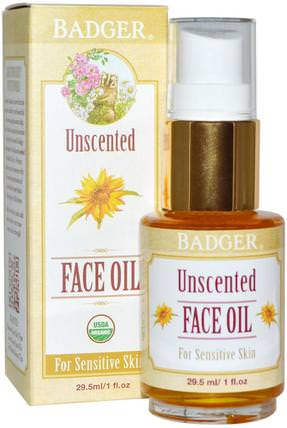 Unscented Face Oil, For Sensitive Skin, 1 fl oz (29.5 ml) by Badger Company, 美容,面部護理,皮膚型酒渣鼻,敏感肌膚 HK 香港