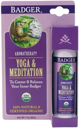 Yoga & Meditation, Cedarwood & Mandarin.60 oz (17 g) by Badger Company, 健康,心情,沐浴,美容,香薰精油 HK 香港