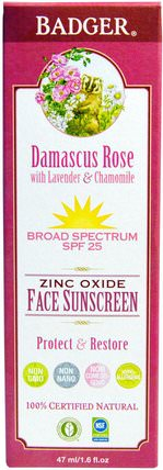 Zinc Oxide Face Sunscreen, SPF 25, Damascus Rose, 1.6 fl oz (47 ml) by Badger Company, 健康,皮膚護理,沐浴,美容,防曬霜,spf 05-25 HK 香港