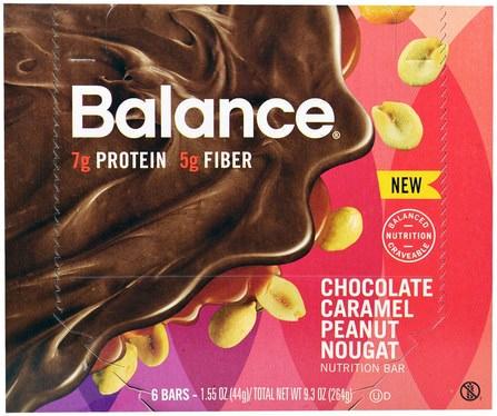 Nutrition Bar, Chocolate Caramel Peanut Nougat, 6 Bars, 1.55 oz (44 g) Each by Balance Bar, 補品,營養棒,小吃,健康零食 HK 香港