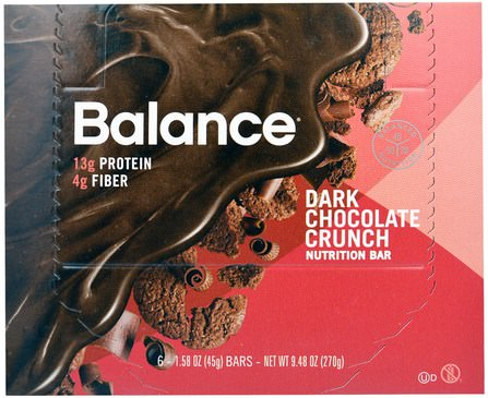 Balance Bar, Nutrition Bar, Dark Chocolate Crunch, 6 Bars, 1.58 oz (45 g) 補充劑,營養棒,熱敏產品