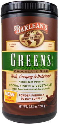 Greens, Powder Formula, Chocolate Silk, 9.52 oz (270 g) by Barleans, 補品,超級食品,barleans綠色 HK 香港