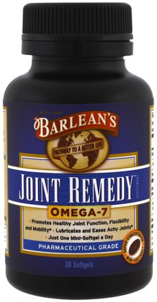 Joint Remedy, Omega-7, 30 Softgels by Barleans, 健康,骨骼,骨質疏鬆症,關節健康 HK 香港