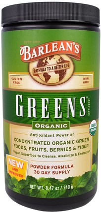 Greens, Powder Formula, Organic 8.47 oz (240 g) by Barleans, 補品,超級食品,barleans綠色 HK 香港