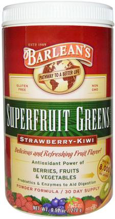 Superfruit Greens Supplement, Powder Formula, Strawberry-Kiwi, 9.52 oz (270 g) by Barleans, 補品,水果提取物,超級水果,barleans綠色 HK 香港