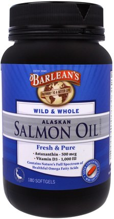 Barleans, Wild & Whole Alaskan Salmon Oil, 180 Softgels 補充劑,efa omega 3 6 9(epa dha),鮭魚油,barleans魚油