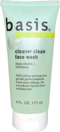 Cleaner Clean Face Wash, 6 fl oz (177 ml) by Basis, 美容,面部護理,皮膚類型正常至乾性皮膚類型組合至油性皮膚 HK 香港