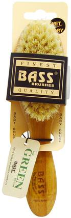 Baby Brush Soft Bristle, 100% Natural Bristle 100% Bamboo with Wood Handle, 1 Hair Brush by Bass Brushes, 洗澡,美容,毛刷,頭髮,頭皮 HK 香港