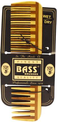 Large Wood Comb, Wide Tooth/ Fine Combination by Bass Brushes, 洗澡,美容,毛刷 HK 香港