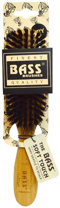 Semi Oval (soft) 100% Wild Boar Bristles, Wood Handle For Fine Hair, 1 Hair Brush by Bass Brushes, 洗澡,美容,毛刷,頭髮,頭皮 HK 香港