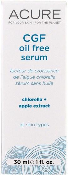 沐浴,美容,摩洛哥堅果,痤瘡,皮膚型痤瘡皮膚 - Acure Organics, CGF Oil Free Serum, 1 fl oz (30 ml)