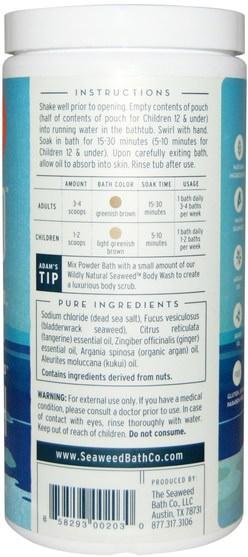 洗澡,美容,摩洛哥浴鹽,浴鹽 - Seaweed Bath Co., Wildly Natural Seaweed Powder Bath, Citrus, 16.8 oz (476 g)