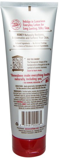 沐浴,美容,摩洛哥堅果乳液和黃油,潤膚露 - Savannah Bee Company Inc, Honey Body Lotion, Lemongrass Spearmint, 8 fl oz (236 ml)