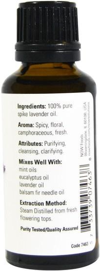 沐浴,美容,香薰精油,薰衣草精油 - Now Foods, Essential Oils, Spike Lavender, 1 fl oz (30 ml)