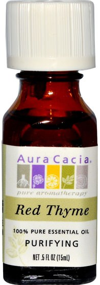 沐浴,美容,香薰精油,百里香油 - Aura Cacia, 100% Pure Essential Oil, Red Thyme, Purifying, 0.5 fl oz (15 ml)