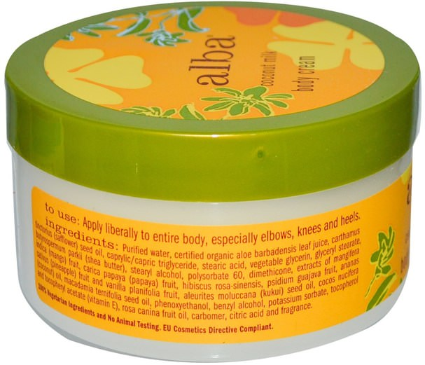沐浴,美容,潤膚露,alba botanica夏威夷線 - Alba Botanica, Body Cream, Coconut Milk, 6.5 oz (180 g)