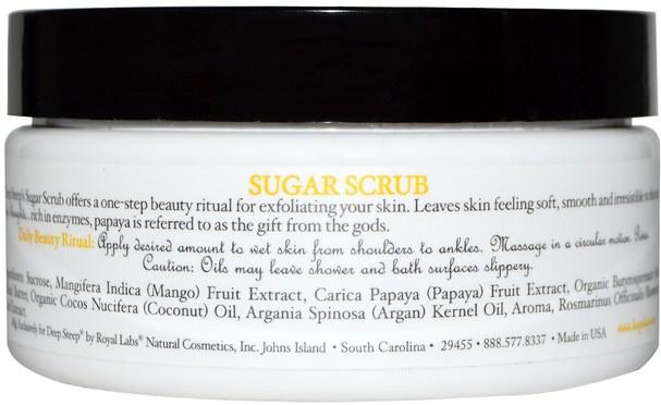 洗澡,美容,身體磨砂,摩洛哥堅果浴 - Deep Steep, Argan Oil Sugar Scrub, Mango - Papaya, 8 oz (226 g)
