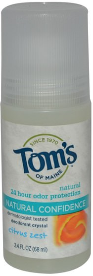 洗澡,美容,除臭石頭 - Toms of Maine, Deodorant Crystal, Natural Confidence, Citrus Zest, 2.4 fl oz (68 ml)
