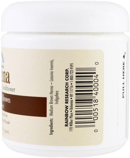 洗澡,美容,頭髮,頭皮,頭髮的顏色,頭髮護理 - Rainbow Research, Henna, Hair Color and Conditioner, Medium Brown (Chestnut), 4 oz (113 g)